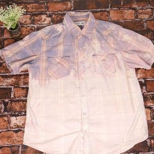 Urban Pipeline Up Short Sleeve Plaid Tie Dye Shirt